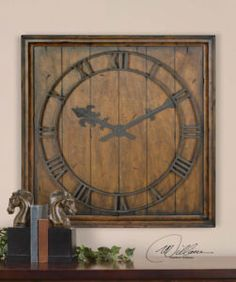 """Old English Pub Square Wood Wall Clock Old World 32"""" - Nice looking clean clock.  Scroll saw cut numbers."""