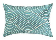 Sky Blue Modern Waves Throw Pillow