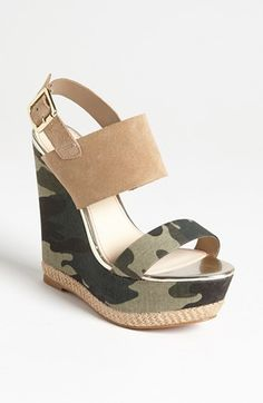 Green Army Camo Espadrilles Wedge Platform Sandals 8