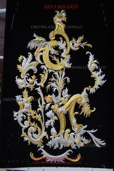 Proceso del bordado en oro y plata de mi Saya Rococó.