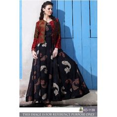 Trendy black chanderi cotton gown with jacket Kurta Designs, Kurti Designs Party Wear, Blouse Designs, Indian Gowns Dresses, Pakistani Dresses, Indian Outfits, Designer Gowns, Indian Designer Wear, Designer Kurtis