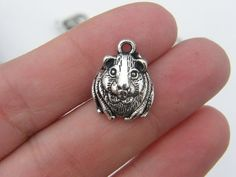 6 Guinea pig charms 18 x 14mm antique silver tone by nicoledebruin, $2.50