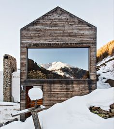 upknorth: reconstructed mountain chalet built on the ruins of a stone alpine farm in the South Tyrol mountains. Photo by Christian Shaulina