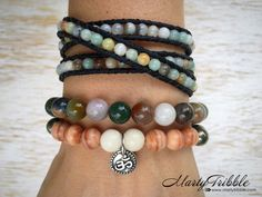 Healing Bracelet Stack » Amazonite Bracelet Set » Yoga Bracelets » Vegan Jewelry » Womens Yoga Gift » Peace Bracelet » Boho Gypsy Bracelet by MartyTribble on Etsy