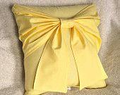 Yellow Bow Pillow - Decorative Pillow