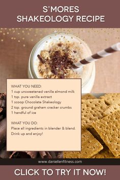 A healthy superfood treat after an amazing workout! The scoop of Chocolate Shakeology gives the S'mores Shakeology a rich, chocolaty flavor, vanilla extract stands in for th Thrive Shake Recipes, 310 Shake Recipes, Protein Shake Recipes, Smoothie Recipes, Protein Shakes, Best Shakeology Recipes, Herbalife Recipes, Shakeology Chocolat, Vanilla Shakeology