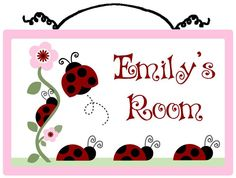 Personalized Ladybugs and Flowers Wood Sign Nursery Decor. $19.99, via Etsy.