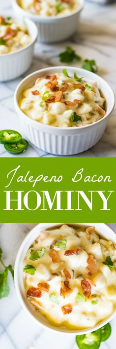 Jalapeno Bacon Hominy - - Jalapeño Bacon Hominy is ULTIMATE comfort food. This easy to make super creamy white cheddar hominy is loaded with bacon and jalapeño for extra flavor and heat. Hominy Recipes, Jalapeno Recipes, Jalapeno Bacon, Hominy Casserole, Casserole Recipes, Tamales, Food Network Recipes, Cooking Recipes, Stuffed Jalapenos With Bacon