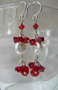 Lovely beaded Siam Red Swarovski crystals White coin freshwater pearls sterling silver drop earrings Casual Dressy Wedding silver jewelry - pinned by pin4etsy.com