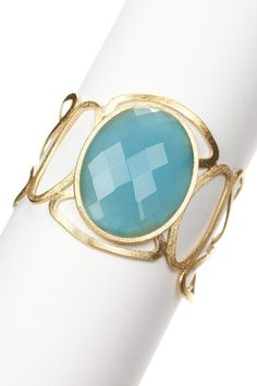 Rivka Friedman 18K Gold Clad Oral Carribean Blue Quartzite Open Link Cuff Bracelet.  Retails for $229.