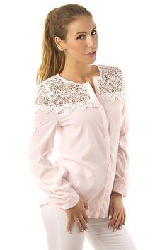 Дамска модерна риза с дантела по раменете