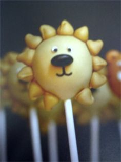 Lion (orange flavor) Cakepop...made an appearance at a baby shower along with monkeys and giraffes.