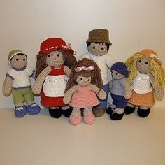 PDF Crochet Pattern - Family Doll and Outfits. $9.50, via Etsy.