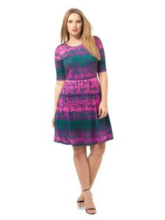 63da0354faa Triste By Gwynnie Bee Fuchsia Ombre Fit  amp  Fare Dress Size 2X (18