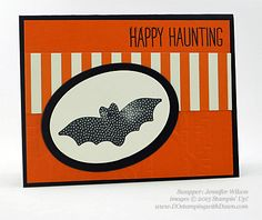 handmade Halloween card shared by Dawn Olchefske ... black, white and orange ... clean lines ... die cut bat focal point ... Stampin' Up!