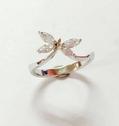 White Cubic Zirconia 925 Sterling silver ring handmade dragonfly designed cute  #Handmade #Band
