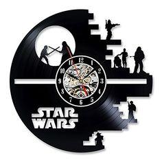 Vinyl Music Record Wall Clock Gift for Star Wars Lovers G...