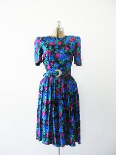 Vintage 1980's Midnight Rose Dress