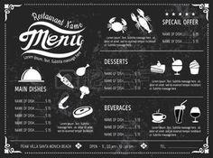 menu vintage: template vecteur menu design Ardoise pour le restaurant
