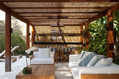 Pergola Attached To House Roof Outdoor Sofa, Outdoor Spaces, Outdoor Living, Outdoor Furniture Sets, Outdoor Decor, Wooden Pergola, Pergola Patio, Porch And Terrace, Gazebos