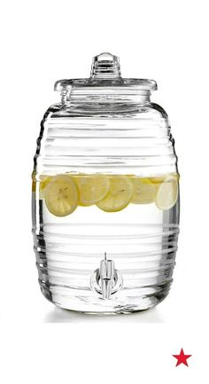 Refresh your next party with a tried-and-true classic. Crafted in clear glass with rippling lines throughout, this barrel beverage dispenser helps you host with ease. How about infusing water with fruit or creating your own tasty punch?