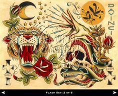 traditional Tattoo Flash | shaun topper 2009 tattoo flash set of 5 $ 60 14 x 11