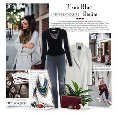"""True Blue: Distressed Denim"" by thewondersoffashion ❤ liked on Polyvore featuring Prada, Emilio Pucci, Theory, Gucci, J Brand, 10 Crosby Derek Lam, Chanel, Nach, Fotini Psarouli and Nocturne"