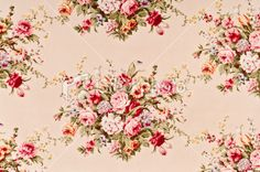 Ahsley Rosette Close Up Antique Floral Fabric Royalty Free Stock Photo