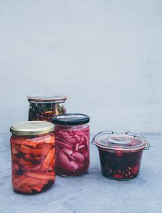 Ginger Carrot Pickle, Buddhas Smile (almost kimchi), Pinkie, and Le Rouge