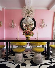 A Divine Dining Room. In yellow Platner chairs around a glossy black table in the glow of pretty pink walls. Interior Design: Betsey Johnson for her New York home. Home Interior, Interior Decorating, Modern Interior, Decorating Ideas, Decor Ideas, Pastel Interior, Room Ideas, Yellow Interior, French Interior