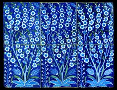 Fritware tile panel, painted in blue, turquoise, and moss green under a transparent glaze. Turkey, Iznik; c. 1540 H: 61.2; W: 79 cm. Stunningly beautiful, thank you, yama-bato.