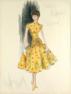 1954 Original Costume Sketch by Edith Head for Audrey Hepburn in 'Sabrina'