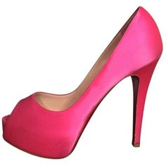 Pre-owned Christian Louboutin Satin Hyper Prive Peep Toe Hot Pink... ($450) ❤ liked on Polyvore featuring shoes, pumps, hot pink, peeptoe pumps, satin shoes, peep-toe shoes, peep-toe pumps and hot pink satin shoes