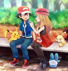 Anime Pokémon : Illustration Description Ash and Serena Pokemon Girls, Pokemon Couples, Pokemon People, Ash Pokemon, Pokemon Ships, Pokemon Fan Art, Cute Pokemon, Anime Couples, Pokemon Fusion