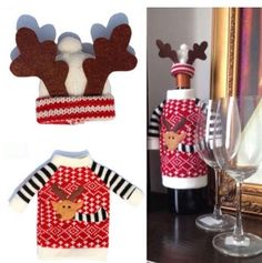 Christmas Wine Bottle Cover Santa Claus Decor Home Table Dinner Decoration New #ChristmasWineChina