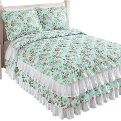 Collections Etc Floral Eyelet Lace Ruffled Bedspread with Four Tiers and Quilted Design - Seasonal Décor for Bedroom, Blue, Full Collections Etc, Bedding Collections, Eyelet Lace, Lace Ruffle, Burlap Bedding, Ruffle Bedspread, Waverly Bedding, Twin Xl Bedding Sets, Ticking Stripe
