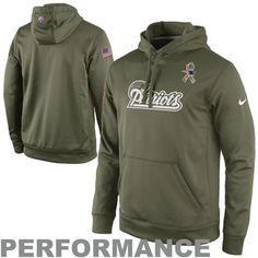Nike New England Patriots Salute to Service KO Pullover Performance Hoodie - Olive
