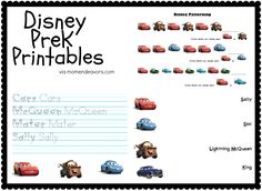 Fine Disney Preschool Printable Worksheets that you must know, Youre in good company if you?re looking for Disney Preschool Printable Worksheets Disney Activities, Road Trip Activities, Literacy Activities, Educational Activities, Printable Preschool Worksheets, Free Preschool, Disney Printables, Free Printables, Disney Pixar Cars