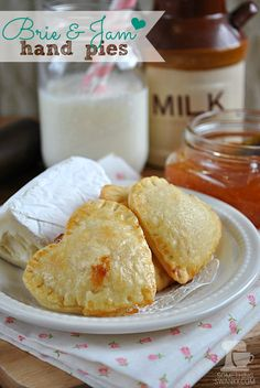 Brie & Jam Hand Pies from www.somethingswan...   I'm newly obsessed with Brie Cheese as a dessert, and this is ridiculously easy to make a delicious! #brie #pie #recipe
