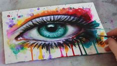SPEED PAINTING Mixed Media Surreal Abstract Eye Watercolor and Acrylic ~ I wish I could paint like this!