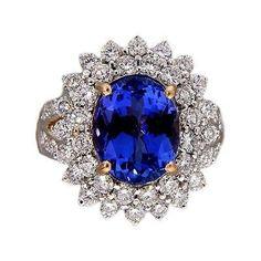 Vintage 5.17ct Oval Purple Blue Tanzanite 2.15ct Diamond Ring