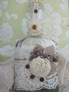 Ultimate Altered Bottle  expensive vintage shabby victorian on Etsy, $48.00