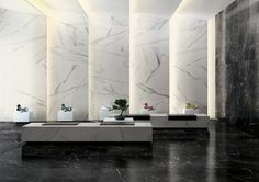 Matt Marble Tiles for Walls and Floors Black and White