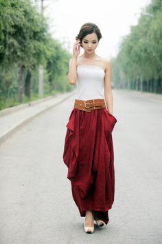 Maxi Skirt in Red Summer Linen Skirt by YL1dress on Etsy