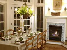 Nice fireplace in the dining room.
