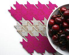 3 Pack of Eco Friendly Merino Wool Interlocking Houndstooth Table Tiles - Pink. $40.00, via Etsy.