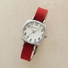 CATHERINE WATCH--At once sensible and stylish, our watch boasts an easy-read, cream-colored face and soft yet durable nubuck band. Quartz movement