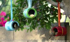 17 DIY Garden Ideas: Creative way to recycle old cans, make sure they're clean and no sharp edges