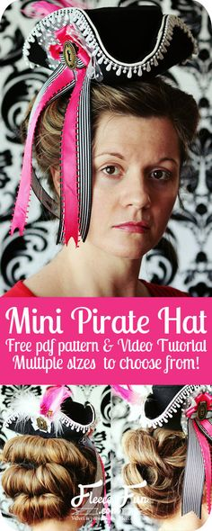 This pirate hat comws in multiple mini sizes and there's a video tutorial.  Perfect!  How to make a Mini Pirate Hat or Mini Tricorn Hat I www.fleecefun.com