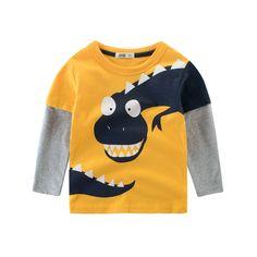 14f0bd1be Encontrar Más Camisetas Información acerca de Otoño niños dibujos animados  dinosaurio camisetas niños manga larga algodón